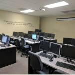 Rows of computers for trainings or technical meetings