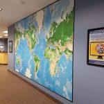 Hallway with world map
