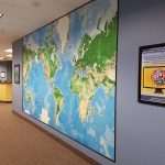 Hallway with world map